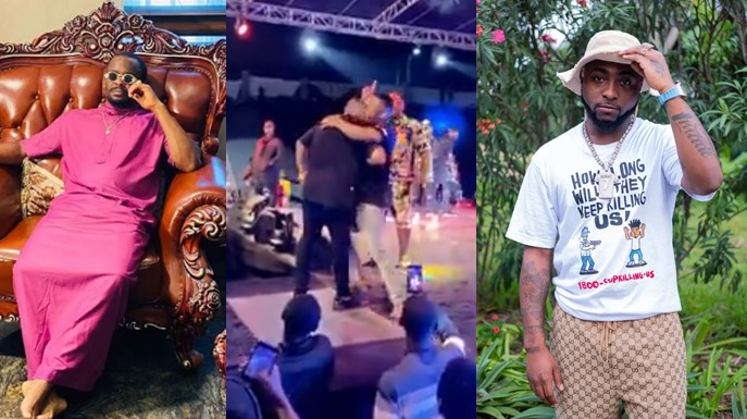 Nollywood actor, Zubby Michael and Davido share brotherly moment at a show in Anambra (Video)