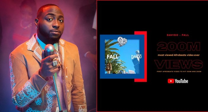 """Davido expresses deep appreciation to fans as """"Fall"""" becomes the first Afrobeats music video to hit 200m views on YouTube"""