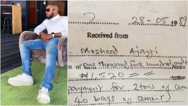 Reactions As Old Receipt Showing 40 Bags Of Cement At N1520 Surfaces Online