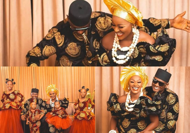 Lovely Photos Of Actress Chacha Eke And Family In Matching Traditional Outfits